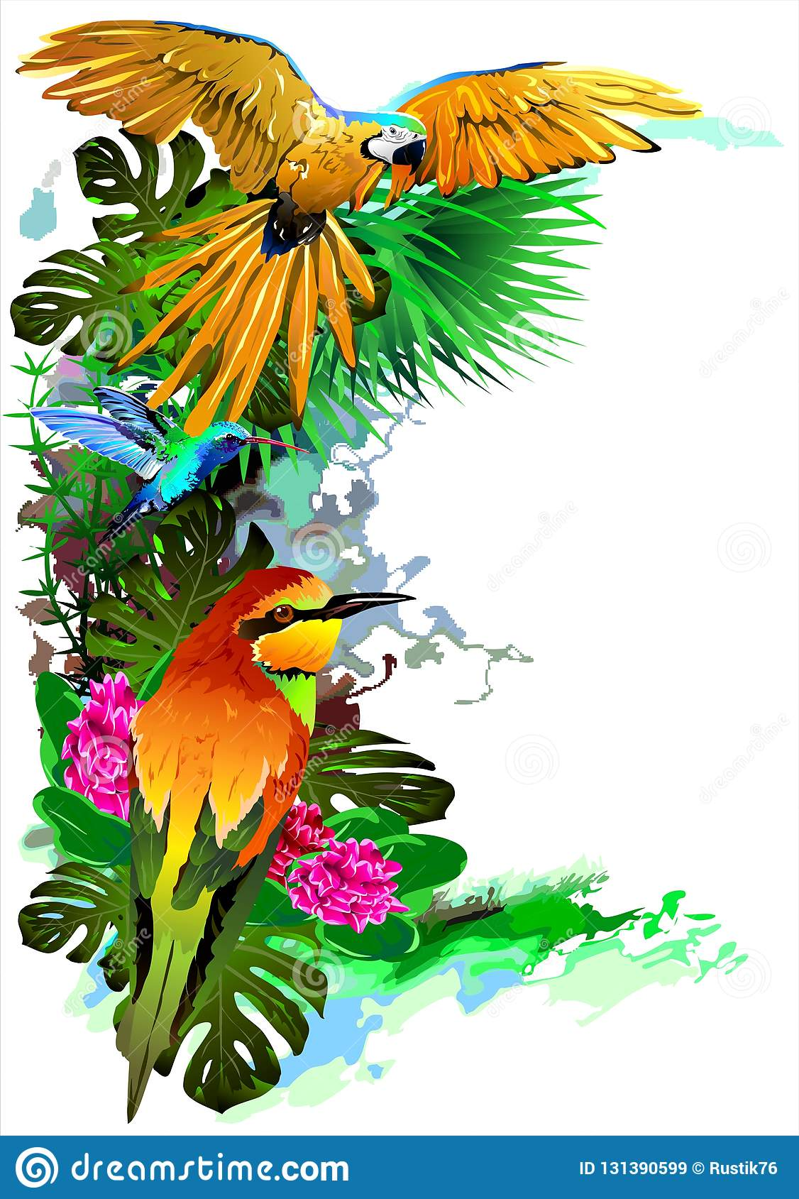Tropical birds. Vector