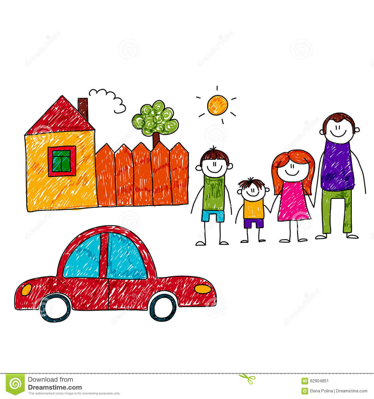 Vector Image Of Happy Family With Car And House Stock ...