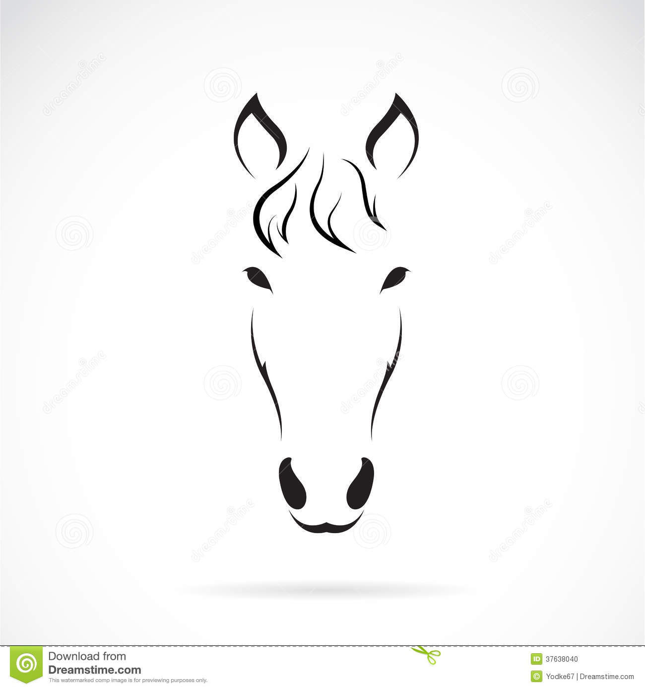 Horse Face Line Drawing : Vector image of an horse face stock illustration