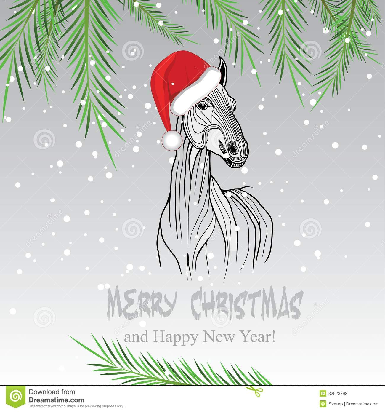 Horse Merry Christmas Card 2014 Year Chinese Symbol Vector Illustration Image Tattoo Design