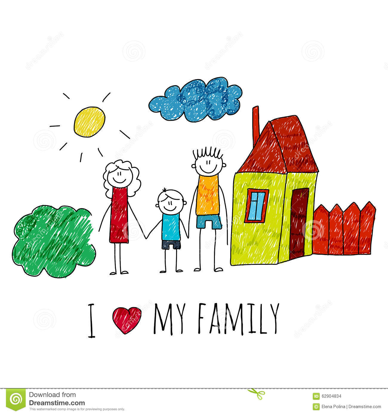 Stock Illustration Vector Image I Love My Family Happy House Kids Drawing Image62904834 on mexican house drawing