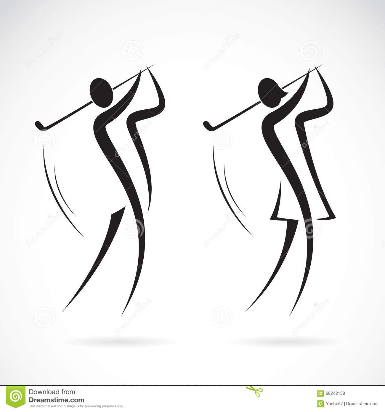 Vector image of an male and female golfers design