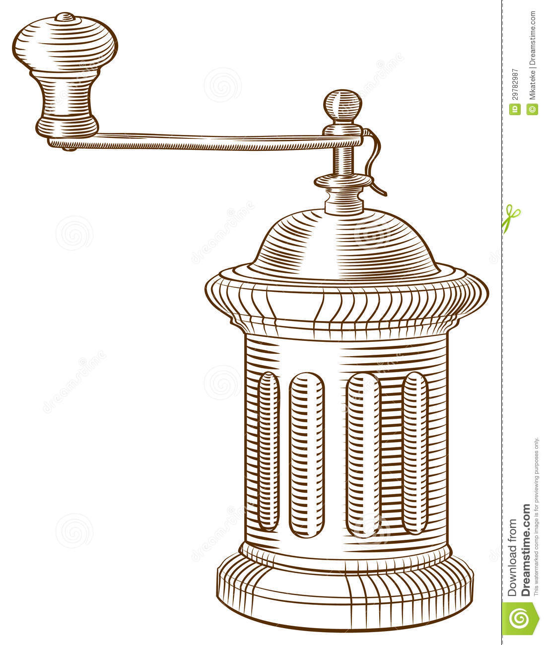 Vintage manual coffee grinder with ... | Stock vector | Colourbox