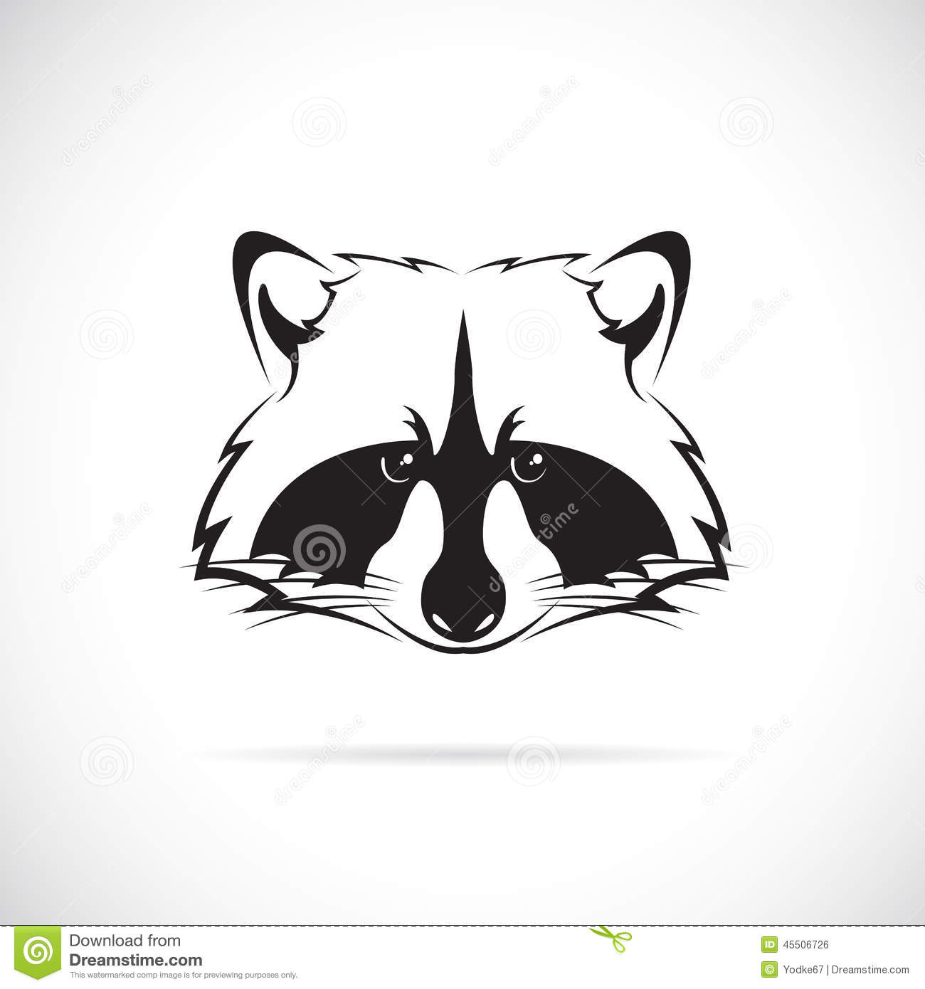 Line Drawing Raccoon : Vector image of a raccoon face stock illustration