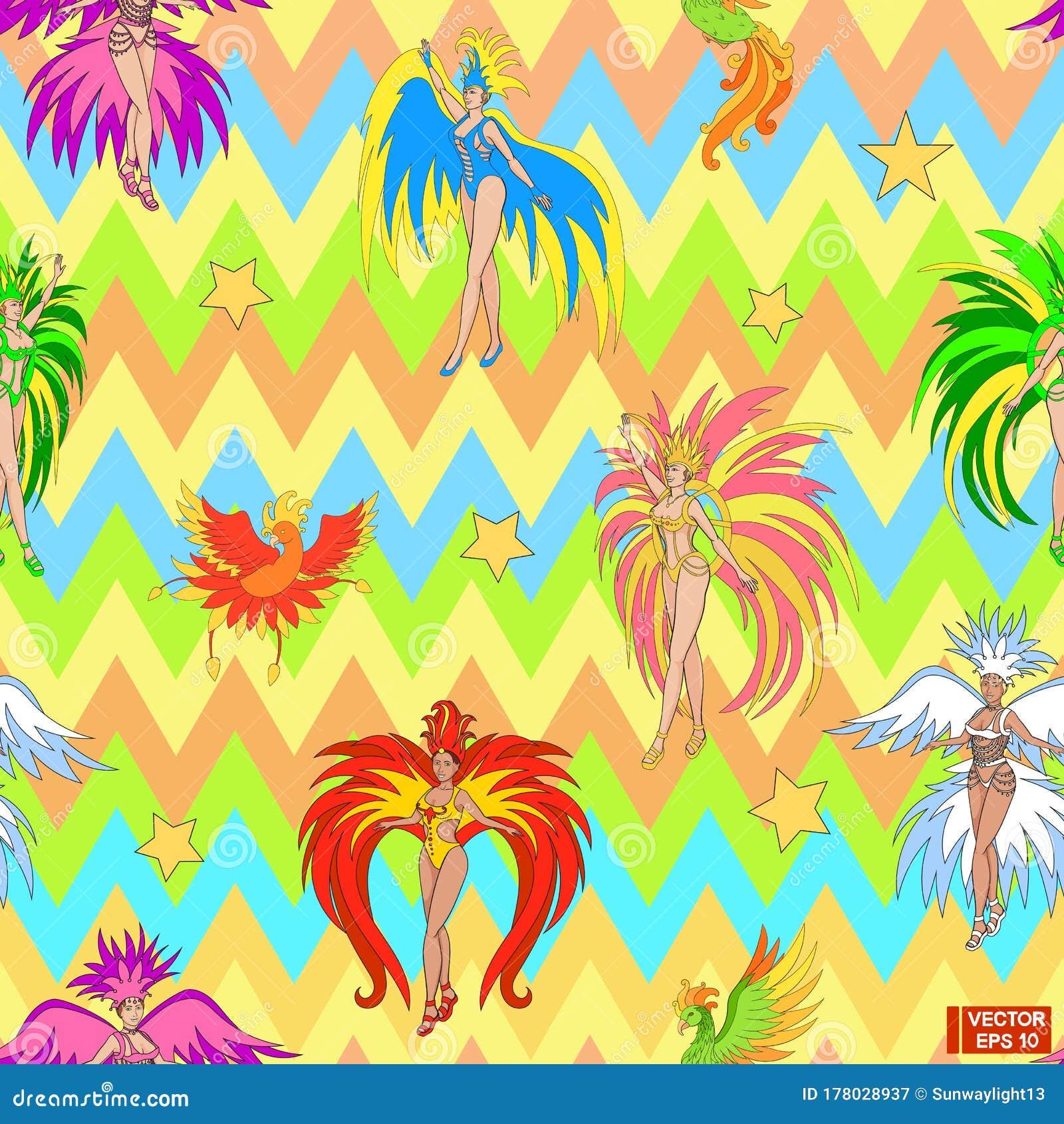 Brazilian Girls. Carnival In Rio Stock Illustration