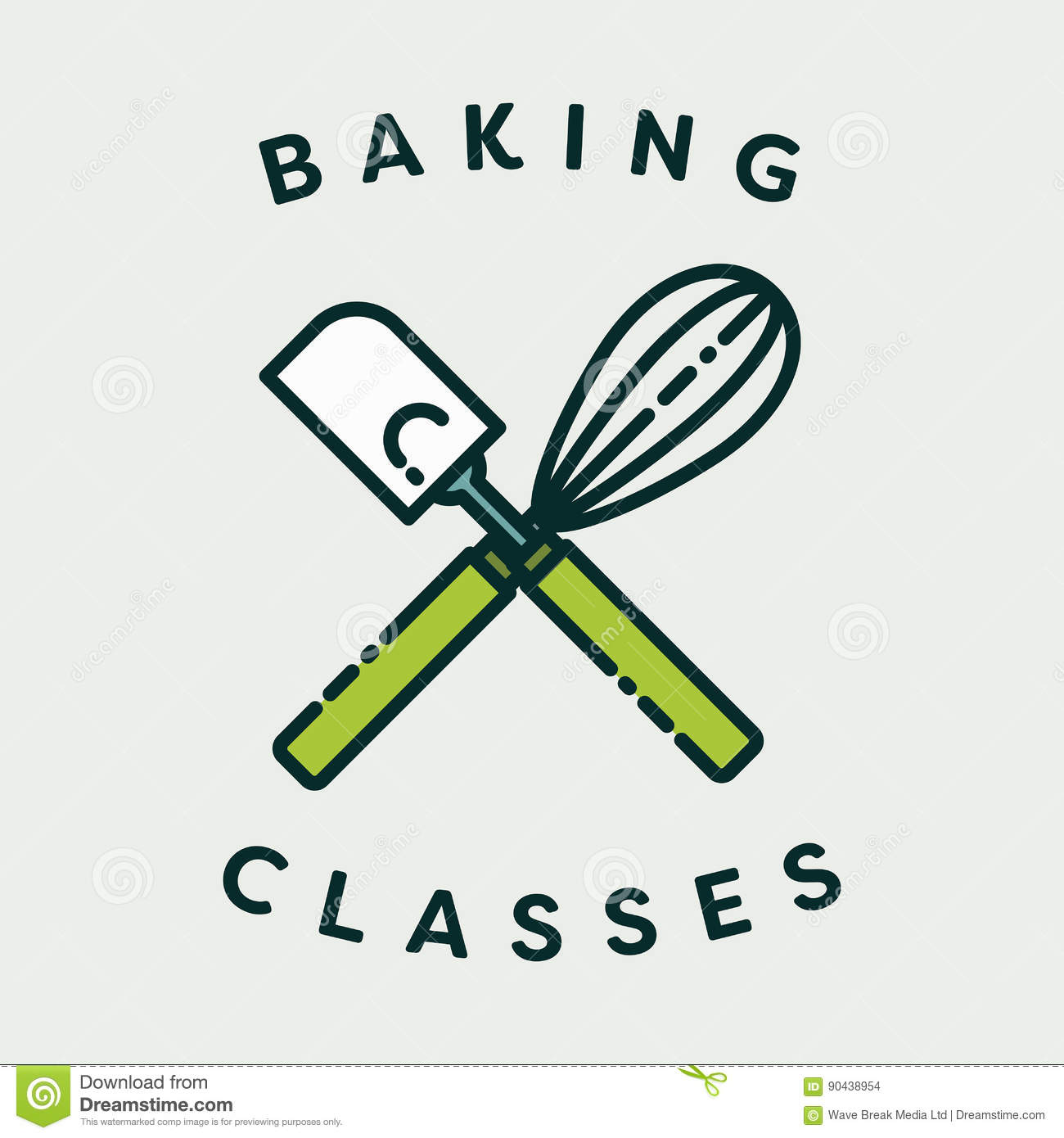 Vector image of spatula and egg beater with text baking classes