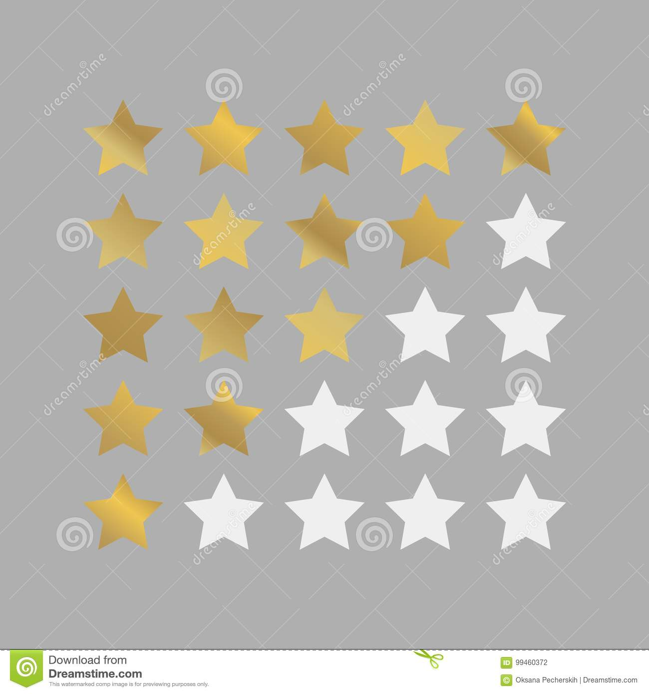 Vector Image Of 5 Star Rating. Gold Stars Vector Icon