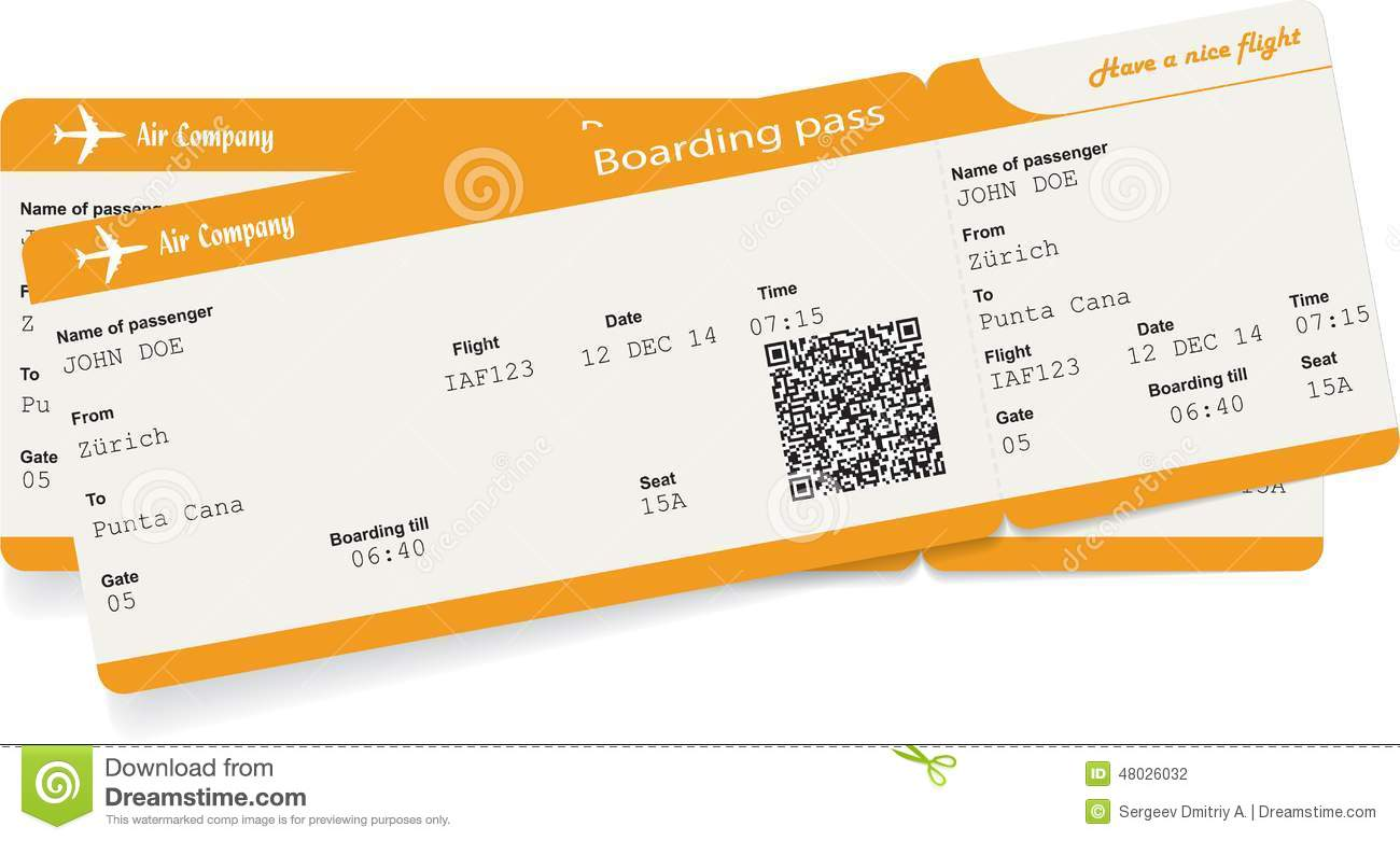 Vector Image Of Two Airline Boarding Pass Tickets Stock ...