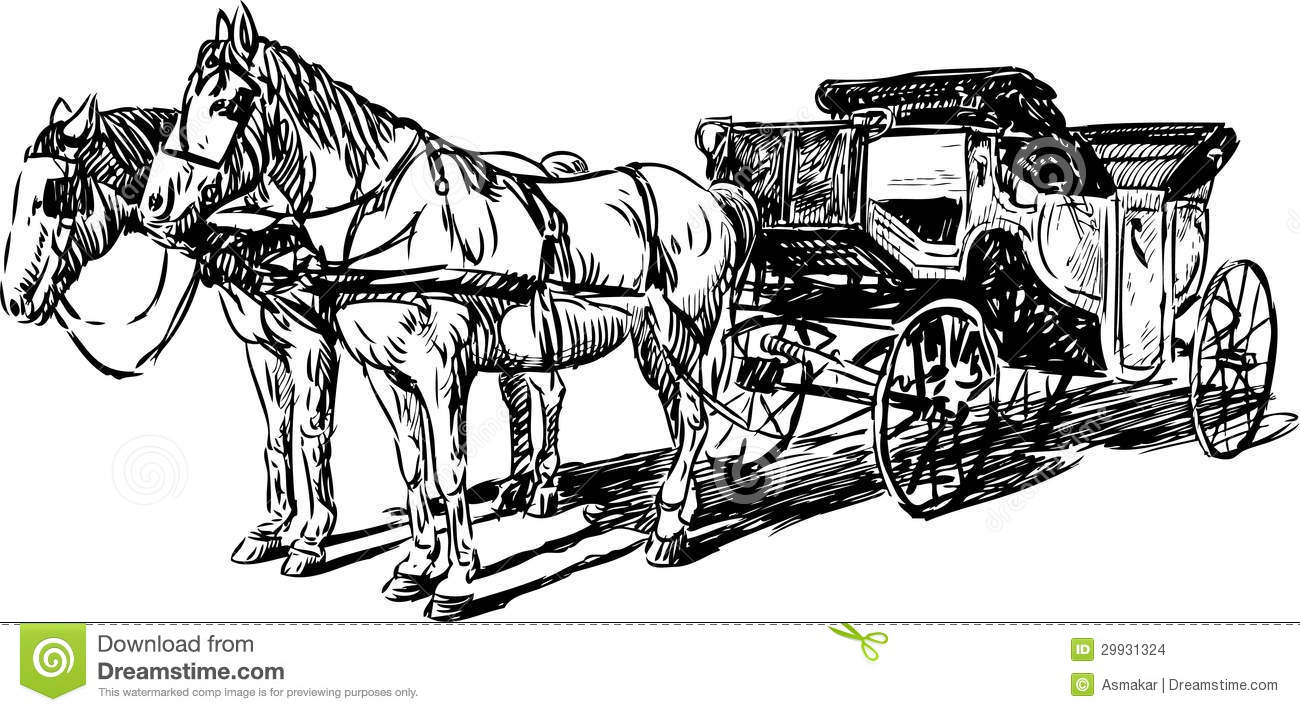 carriage with horses stock vector  illustration of retro