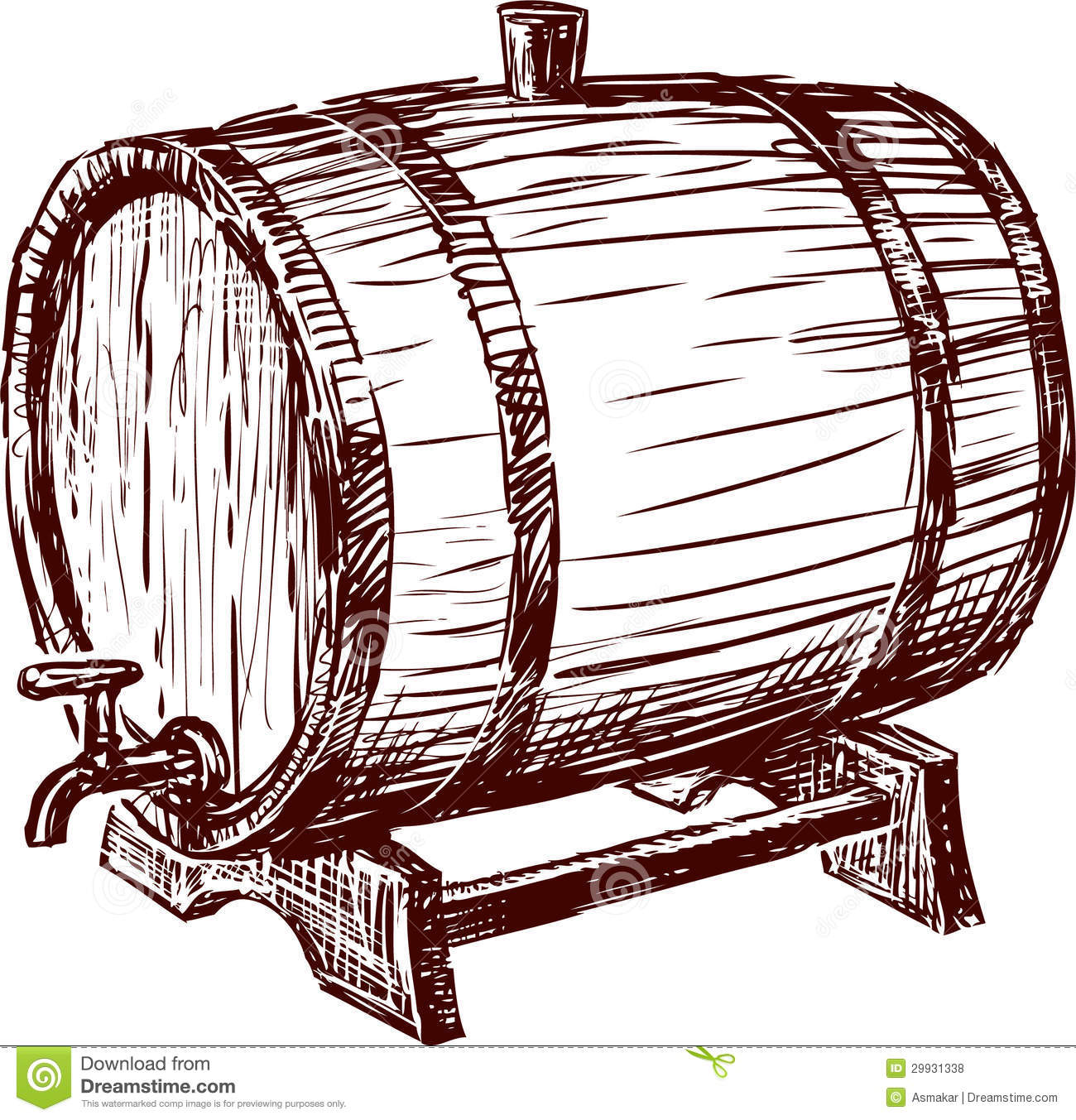 Cask stock photo image of winemaking sketch drink - Barriles de vino ...
