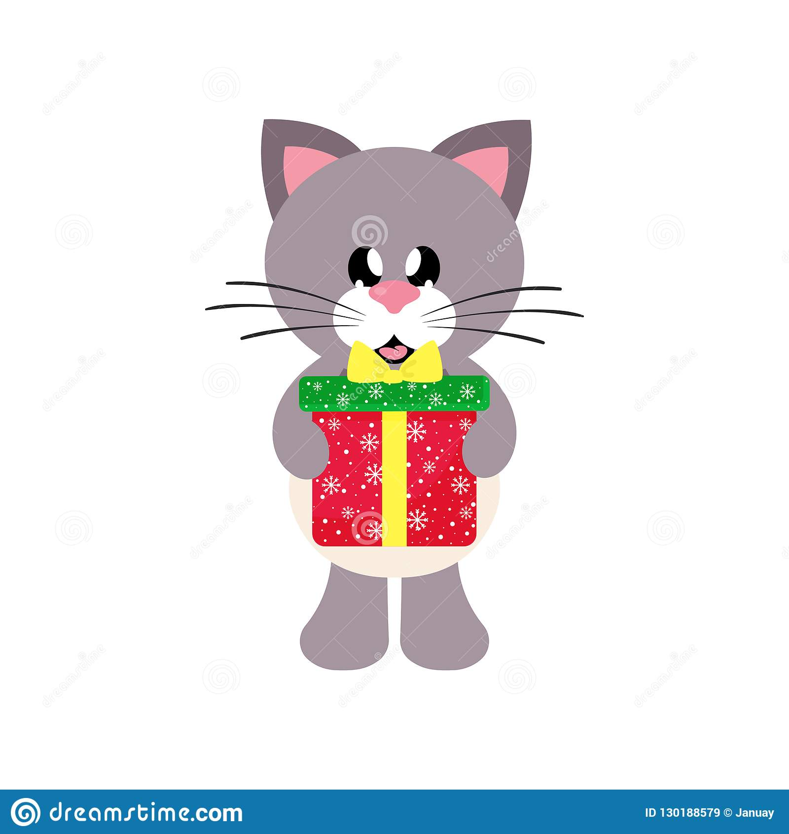 Vector image of a winter cartoon cute cat with christmas gift