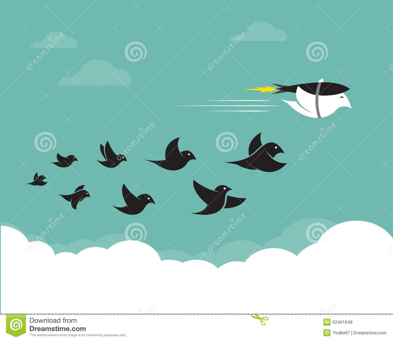 Vector Images Of Birds And Rockets In The Sky. Stock