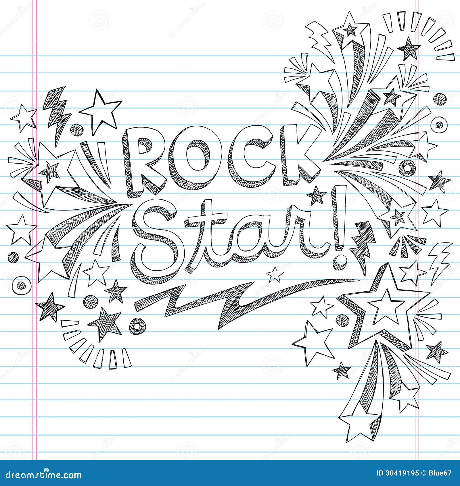 Vector incompleto Illustratio de los garabatos de la música de la estrella del rock