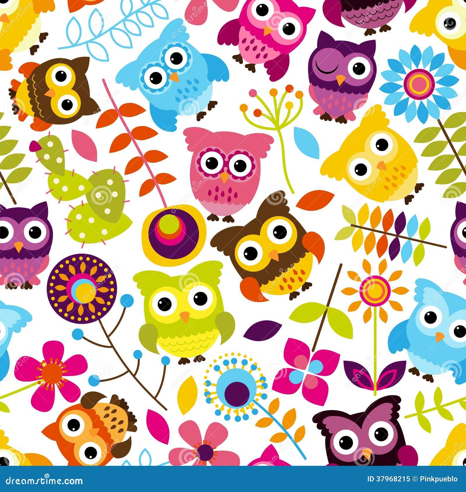 Vector inconsútil y de Tileable Owl Background Pattern