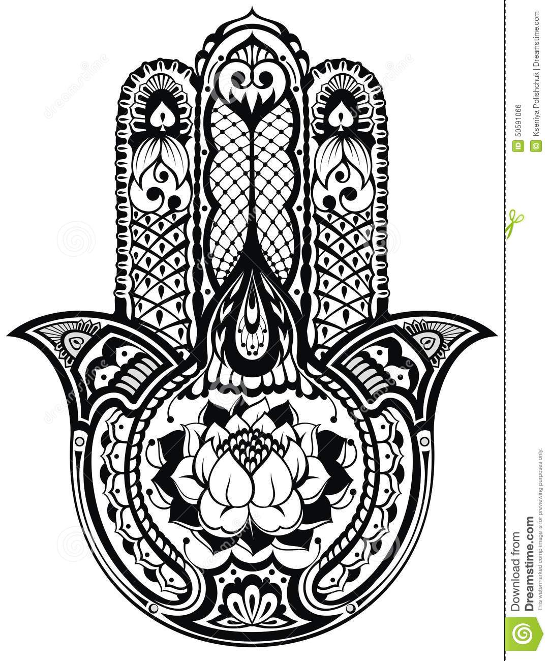 Vector indian hand drawn hamsa symbol illustration 50591066 megapixl buycottarizona