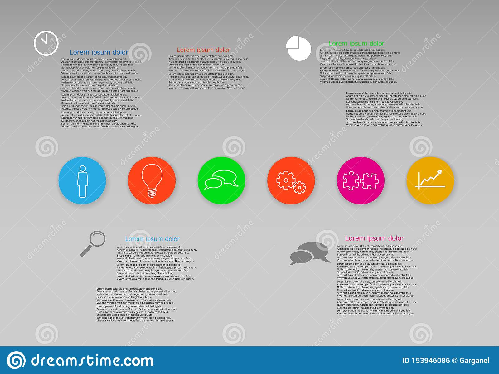 Vector Info Graphic Web Template With Six Round Color Icons