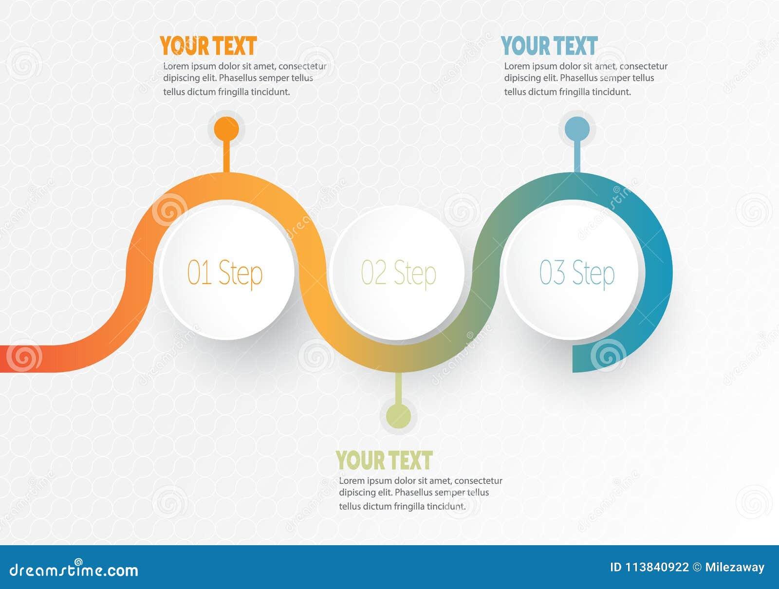 Vector infographic Bedrijfselement voor chronologie met de cirkelring van 3 stappenetiketten