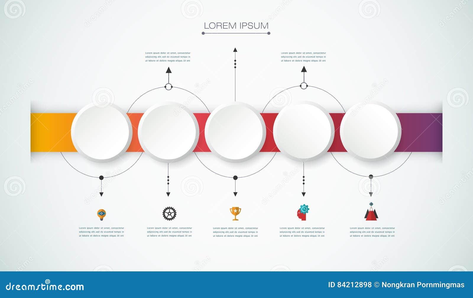 Vector infographic chronologie met 3D document etiket, geïntegreerde cirkelsachtergrond