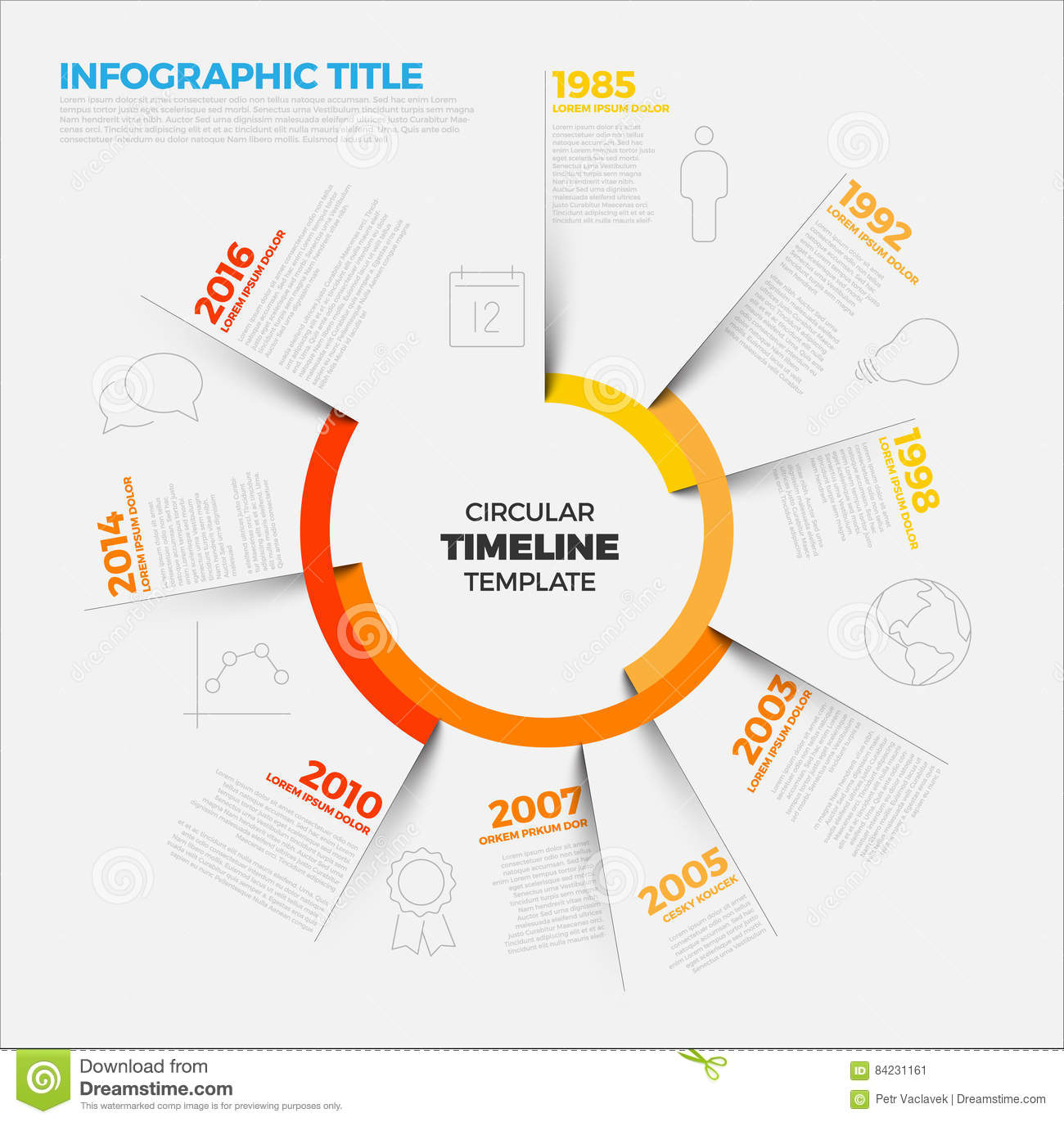 vector infographic circular timeline report template stock vector image 84231161. Black Bedroom Furniture Sets. Home Design Ideas