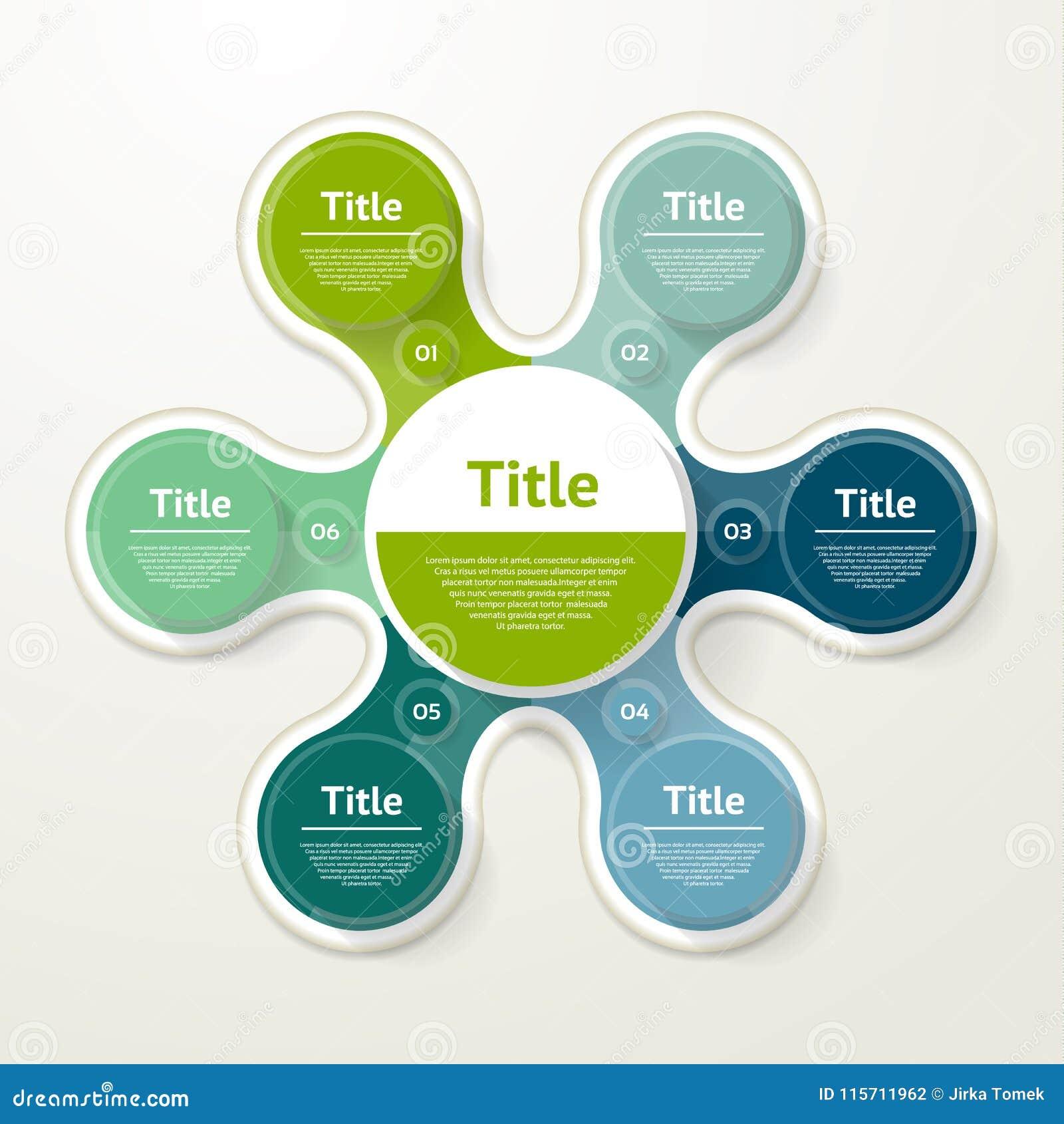 Vector infographic cirkel Malplaatje voor diagram, grafiek, presentatie en grafiek Bedrijfsconcept met 6 opties, delen, stappen