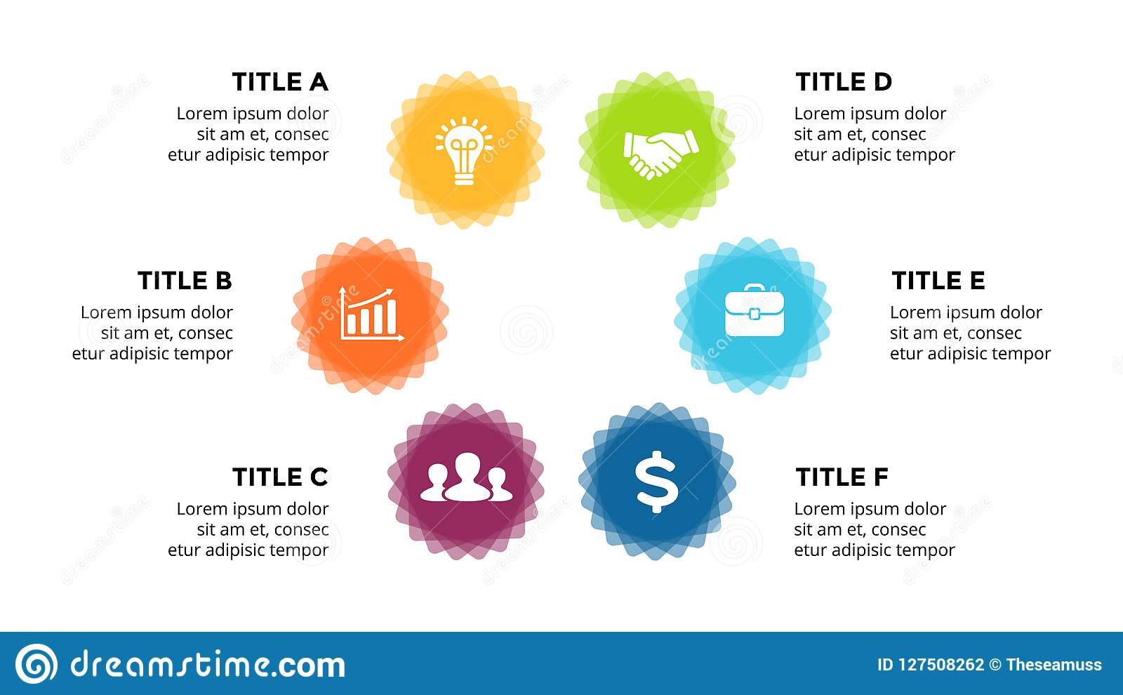 Vector Infographic  Cycle Diagram  Labels Graph  Stickers Presentation Chart  Business Concept