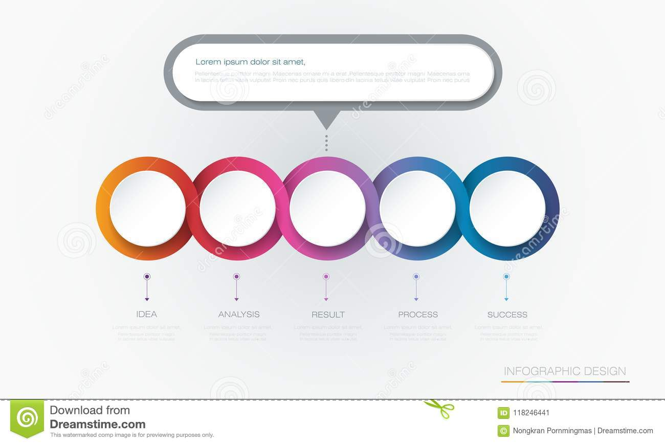 Vector Infographic 3d Circle Label Template Design Infograph With 5
