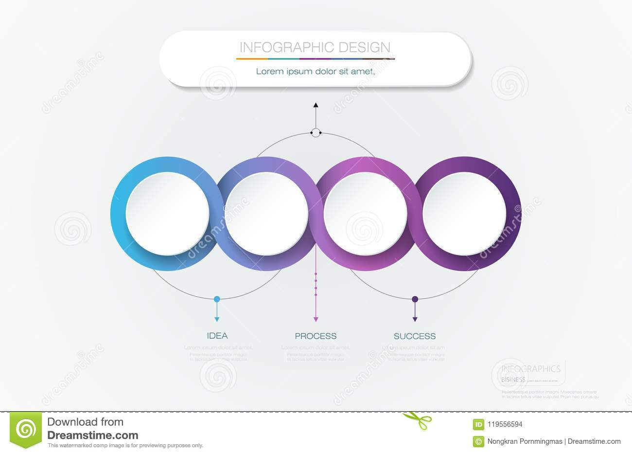 Vector Infographic 3d circle label template design.Infograph with 4 number options or steps.
