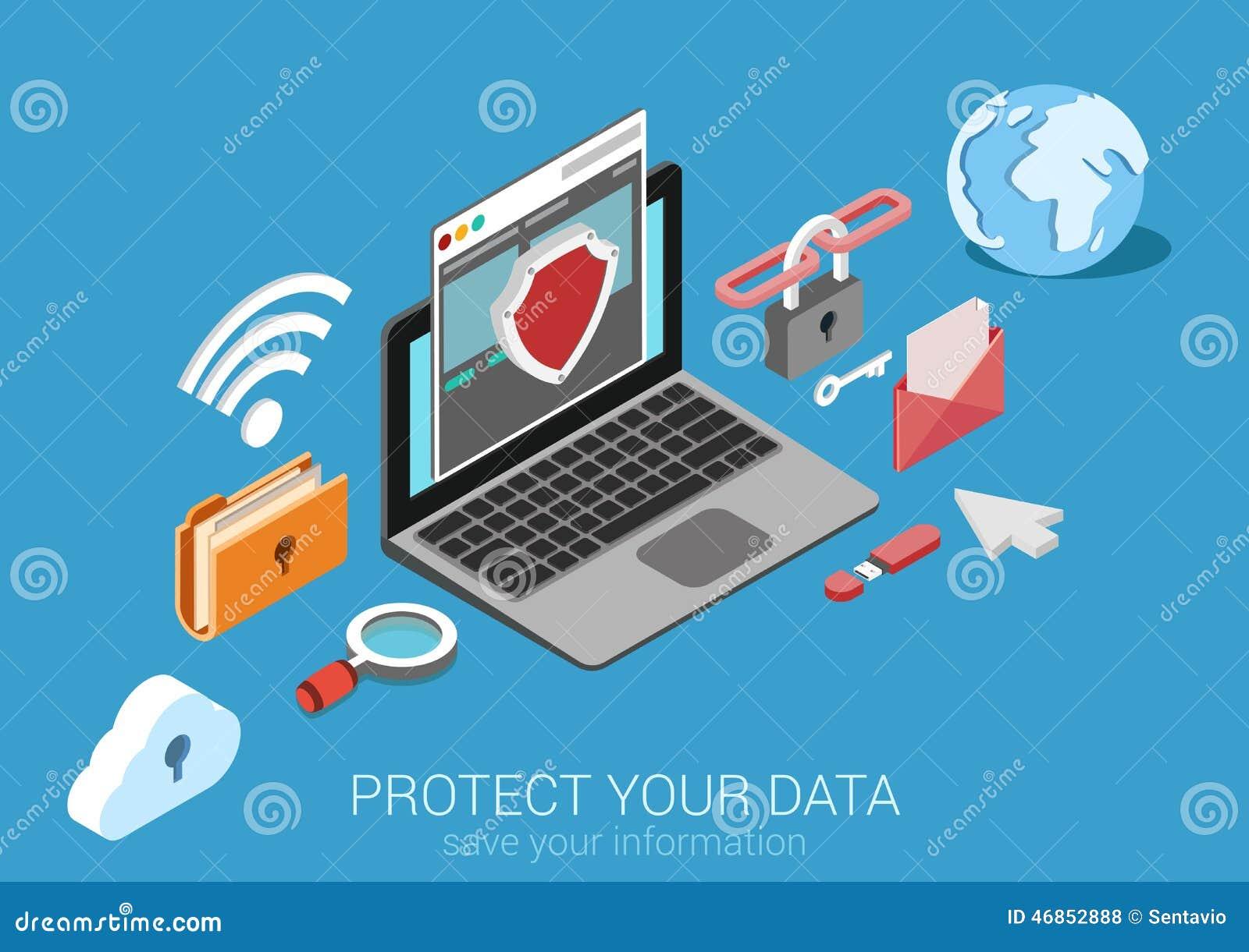 Vector infographic del concepto de la protección de datos isométrica plana 3d