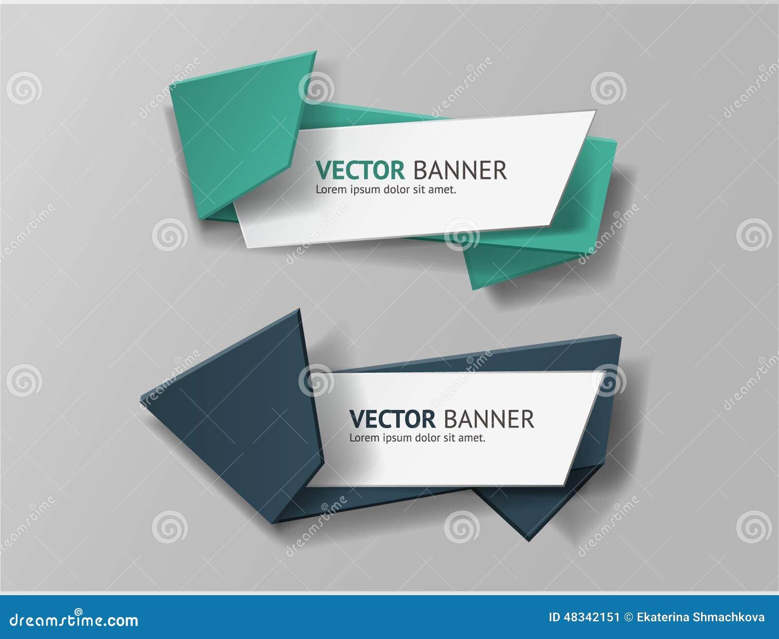 Vector infographic geplaatste origamibanners