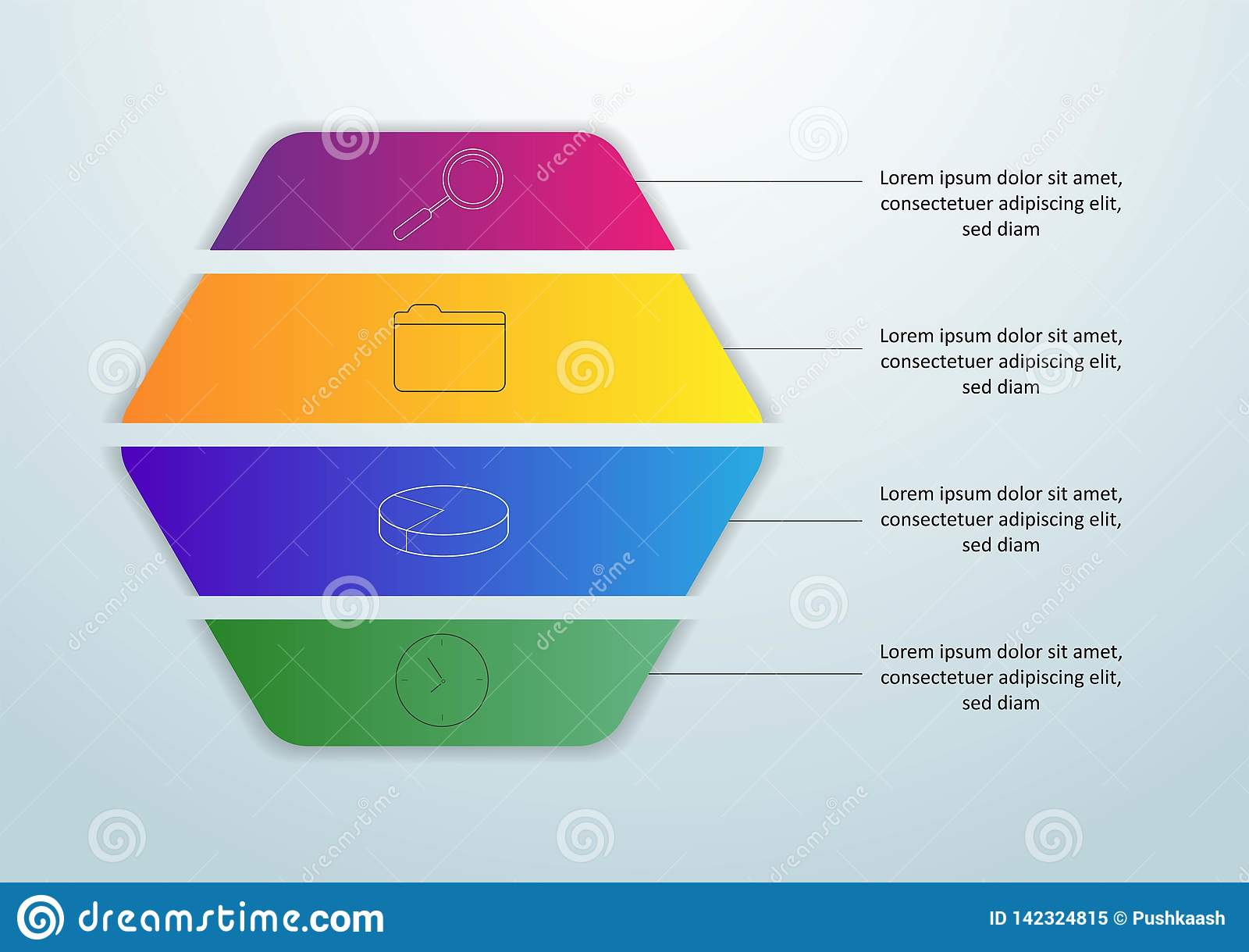 Vector infographic malplaatje met 3D document etiket, geïntegreerde cirkels Bedrijfsconcept met 4 opties Voor inhoud, diagram,