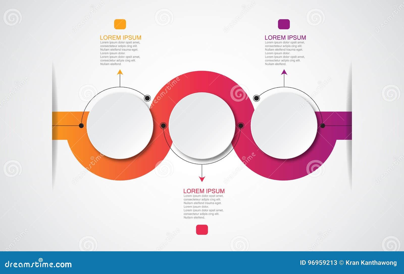 Vector infographic malplaatje met 3D document etiket, geïntegreerde cirkels Kan voor werkschemalay-out, diagram, bedrijfsstapopti