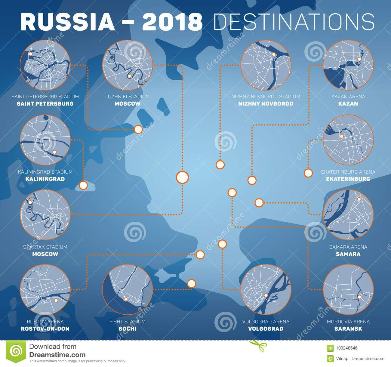 Vector infographic representing venues of Russia 2018 competition