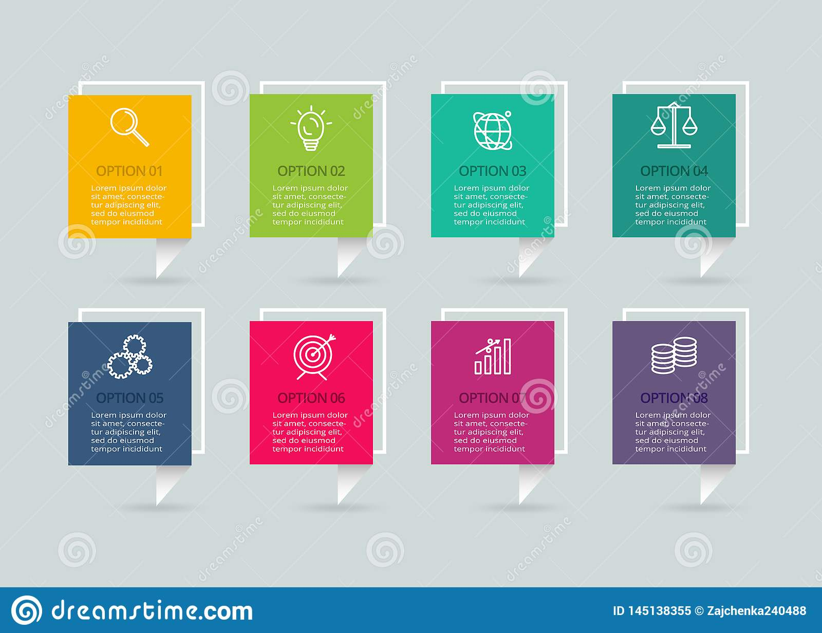 Vector infographic template with 3D paper label. Business concept with 4 options. For diagram, steps, parts, chart.