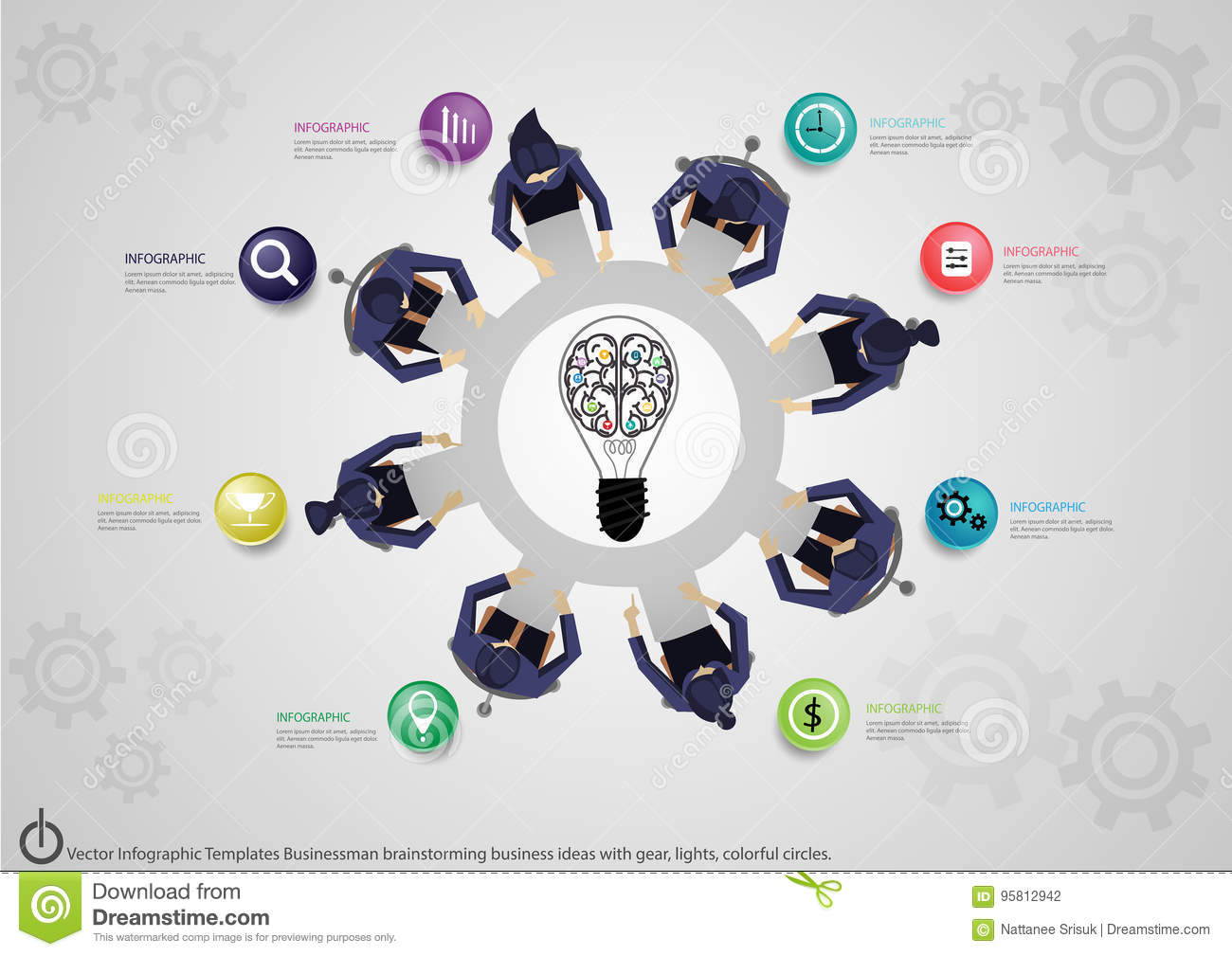 Vector Infographic Templates Businessman brainstorming business ideas with gear, lights, colorful circles