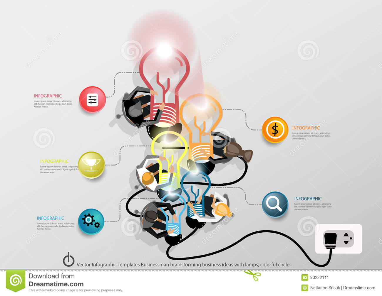 Vector Infographic Templates Businessman brainstorming business ideas with a world map, Notebook task, leveraging, lamps, colorful