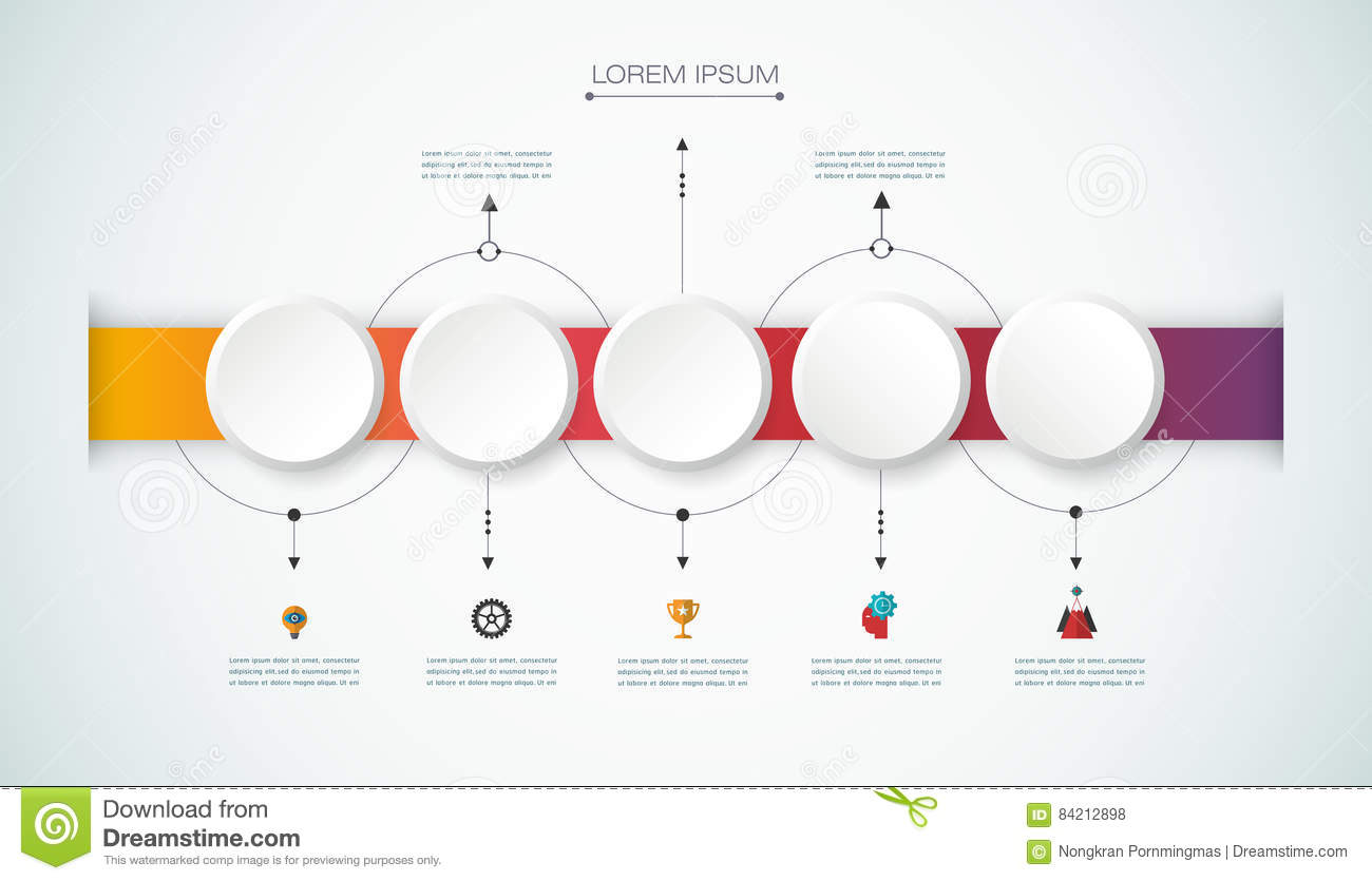 Vector infographic timeline with 3D paper label, integrated circles background