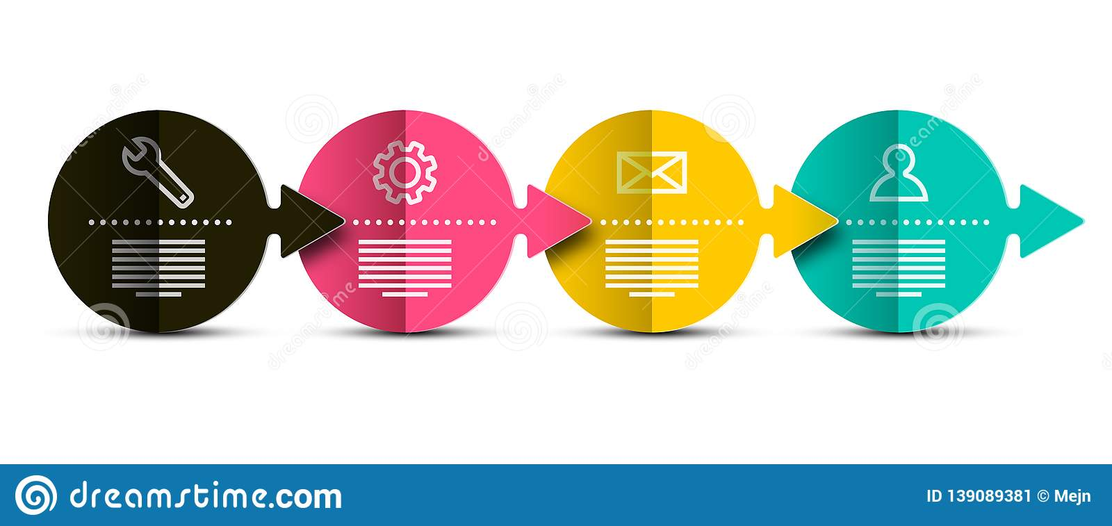 Vector Infographics Layout with Bent Colorful Papers. Creative Four Steps Flow Chart Infographic