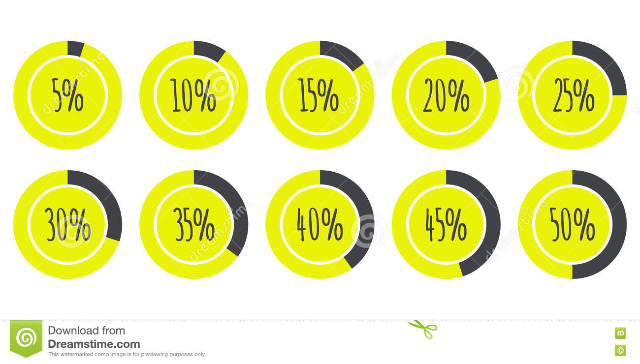 Vector infographics 5 10 15 20 25 30 35 40 45 50 pie vector infographics 5 10 15 20 25 30 35 40 45 50 pie charts isolated on white nvjuhfo Image collections