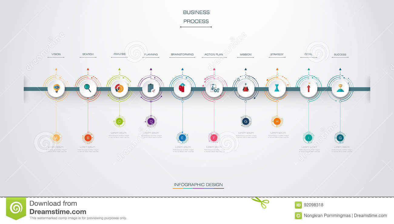 Vector Infographics Timeline Design Template With 10