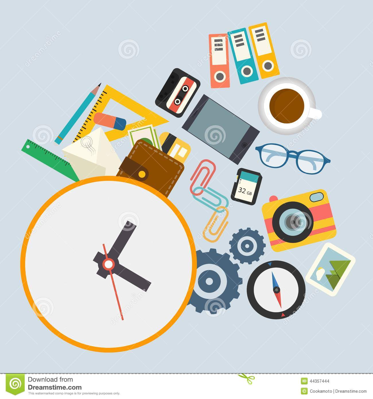Vector Infographics, Work Schedule At The Office Stock ...