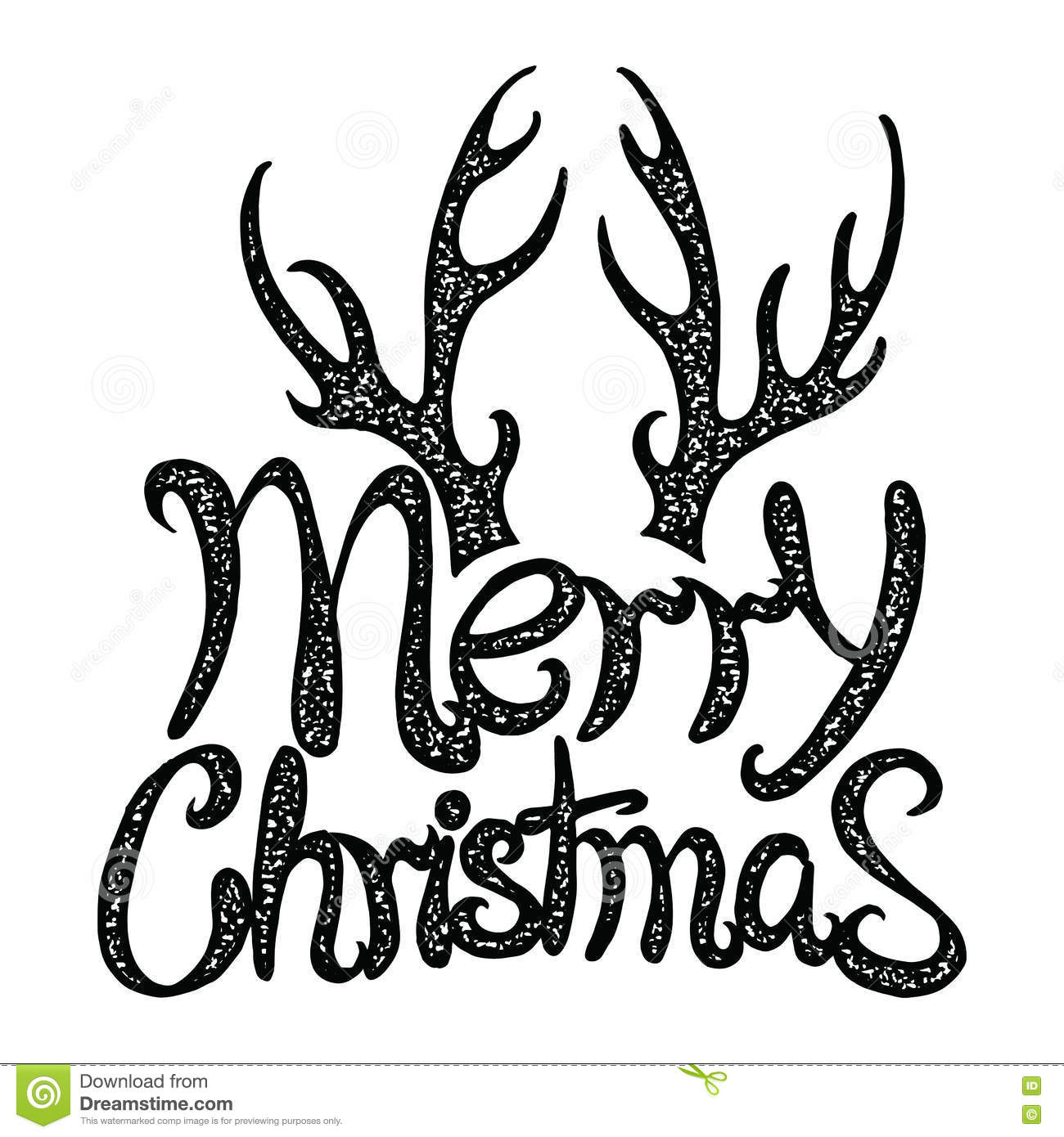 Vector Inscription Merry Christmas Cover Title Drawing By Hand