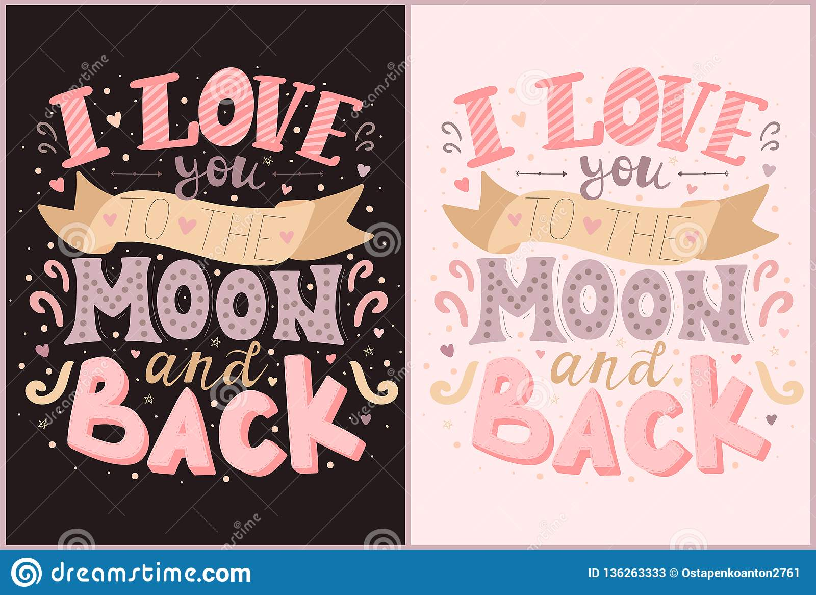 Vector inscriptions I love you to the moon and back in pink and purple colors. Illustration on the dark and light backgrounds for