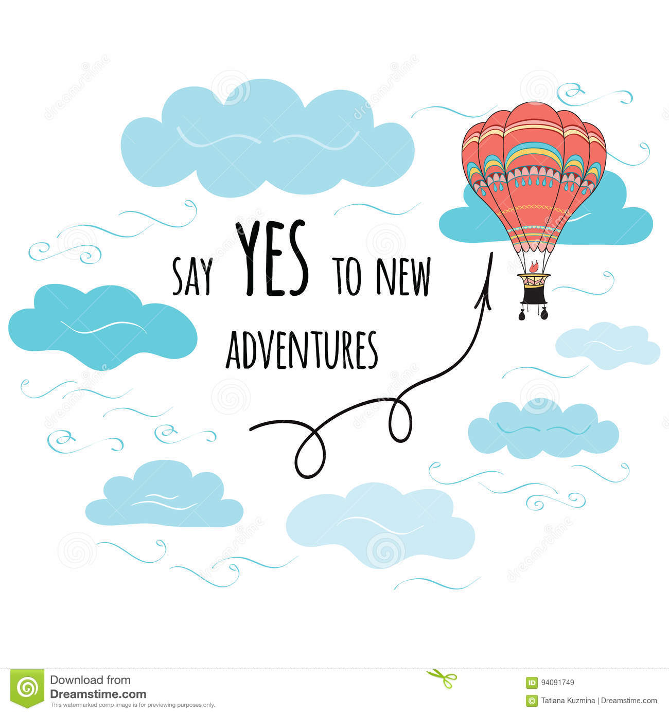 Vector Inspirational Quote Say Yes To New Adventures Decorated Hot