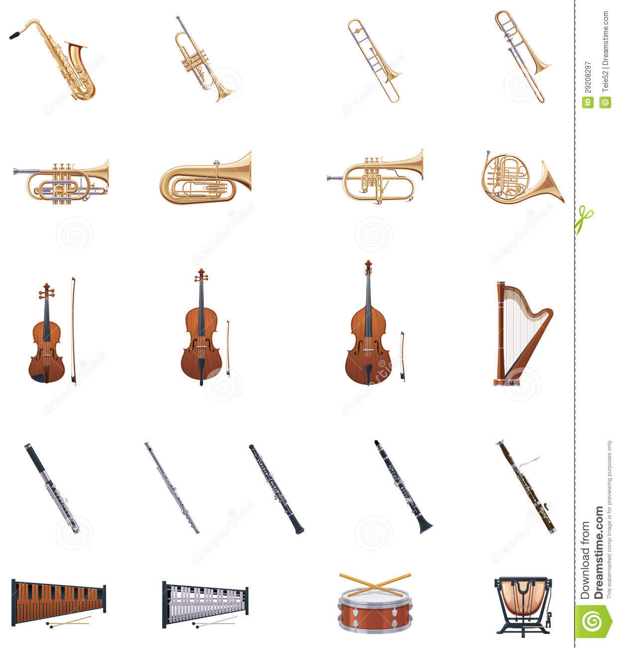 Vector Instruments Of The Orchestra Royalty Free Stock Photography ...