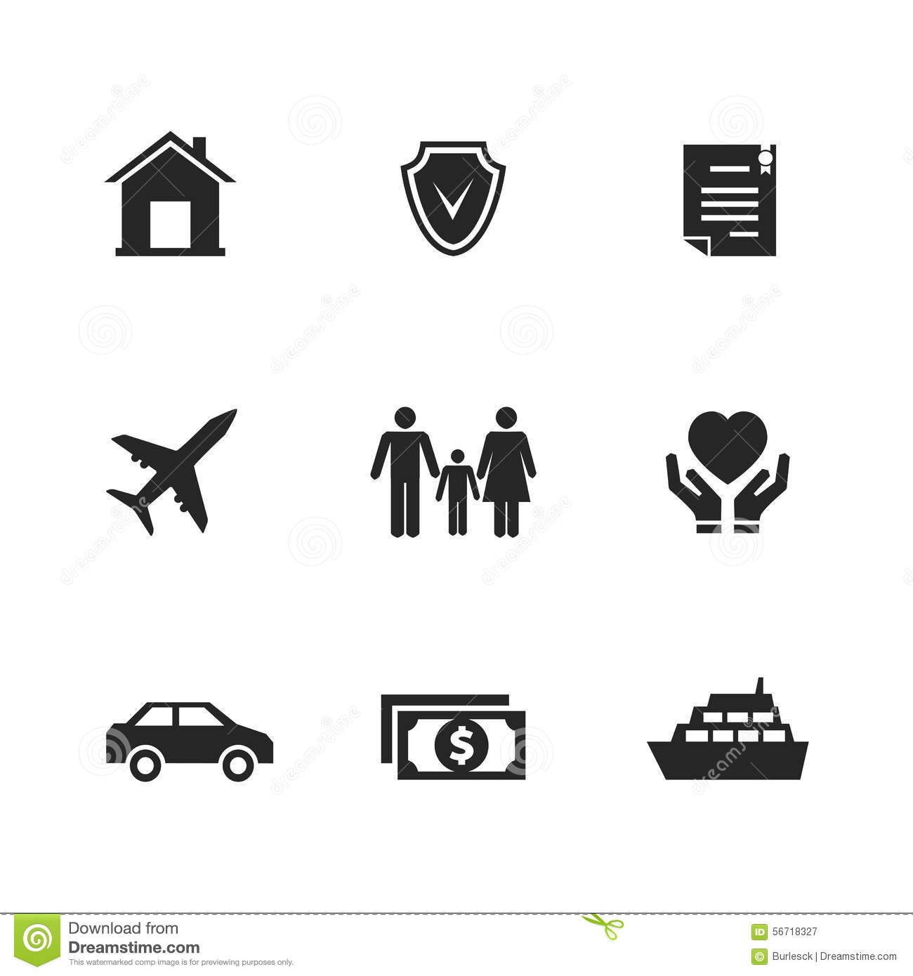 vector insurance icons with hands stock vector