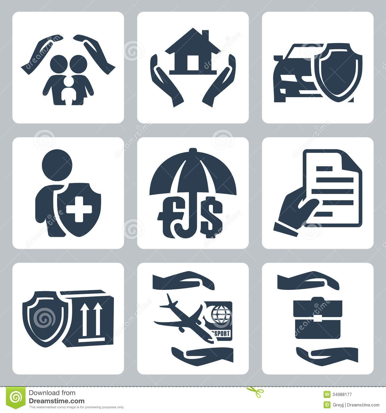 Vector Insurance Icons Set Stock Vector Illustration Of Impact