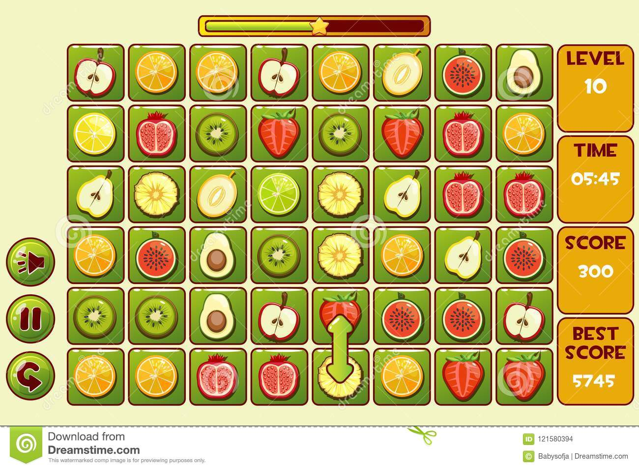 Vector Interface FRUIT Match3 Games  Different Fruits, Game