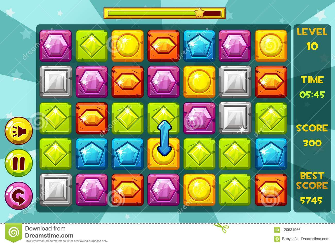 Vector interface GEMS Match3 Games. Multicolored precious stone, game assets icons and buttons
