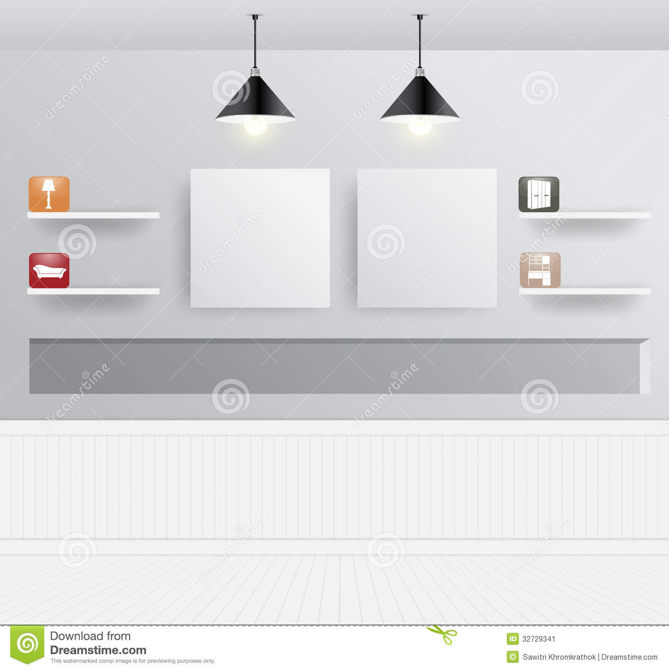 Vector interior design with home furniture icons stock for Interior design images vector