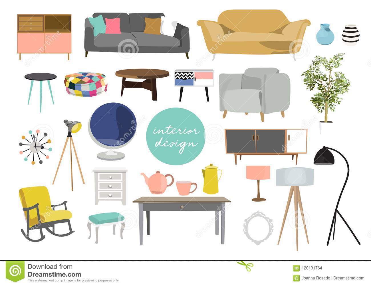Collection of furniture interior design elements in modern trendy style vector illustration of home decor elements